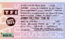 JOHNNY HALLYDAY TICKET DE CONCERT ORIGINAL VINTAGE 9 06 2009 LENS