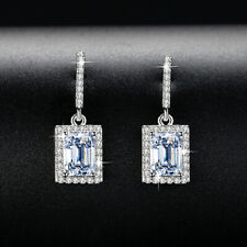Crystal Cz Rectangular Dangle Stud Earrings Fashion White Gold Filled Inlay Full