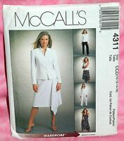 Uncut McCalls Sz 10-16 Lined Jacket Top Asymmetrical Skirt & Pants Pattern 4311