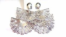 CLIP-ON EARRINGS TRIPLE FAN EARRINGS GOLD OR SILVER TONE CONVERTIBLE TO PIERCED