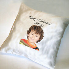 CHRISTMAS PERSONALISED SATIN CUSHION COVER- cover only approx 35cm
