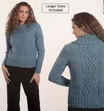 """Plymouth Knitting Pattern 1123 Cabled Cowl Neck Pullover Sweater SM-2X 36""""-52"""""""