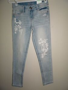 NWT JUSTICE GIRLS SIZE 12 LACE ACCENT SKINNY JEANS DENIM NEW LIGHT WASH