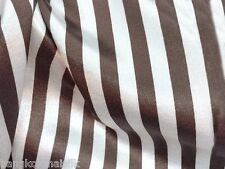 BROWN IVORY STRIPES CREPE BACK SATIN FABRIC GR8 QTY BLOUSE DRAPE TABLECLOTH