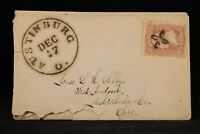 Ohio: Austinburg 1860s #65 Cover, Unusual Small SOTN Fancy Flower Cancel
