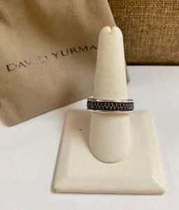 David Yurman Streamline Two-Row Band Ring With Black Diamonds!!! Size 9.5