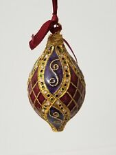 """cloisonne enamel ornament 4"""" red, purple, gold"""