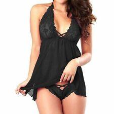 Women Sexy Lingerie Lace Babydoll Thong Nightwear Sleepwear Underwear Dress Set