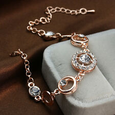 Dazzling Rose Gold Plated Crystal zircon Women Bracelet Cuff Bangle Party Gift