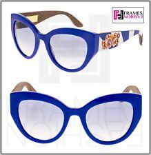 DOLCE   GABBANA Sicilian Carretto 4278 Azul Branco Óculos de sol madeira  DG4278 Runway 97238b0a73