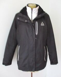 Gerry 2-pc black nylon zip winter coat white quilted removable inner jacket XL