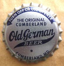OLD GERMAN BEER unused CROWN, Bottle CAP, Cumberland, MARYLAND, CLOSED 1974 NICE