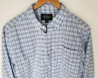 Nat Nast Medium Luxury Original Button Front  Mens Shirt Blue White Plaid
