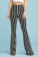 Women's Black White Stripe Bell Bottom Flare Leg Long Stretch Pants High Waist