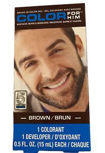 Color For Him, 5 Min Facial Hair Coloring Gel for Men, Brown
