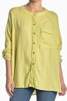 Free People Womens Knit Top Yellow Size Small S Button Down Shirt $108 339