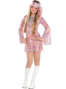 Girls Teen 60 70 Disco Chick Fancy Dress Costume Disco Diva Hippy Kids Ages 6-16