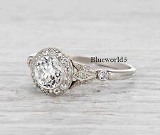1Art Deco Bezel Set Off White Moissanite Engagement Ring Wedding 925 Silver
