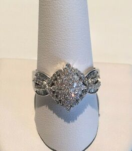 STERLING SILVER 1.00ct LADIES LARGE MARQUISE CLUSTER RING ALL SIZES