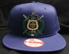 Omega Psi Phi Purple New Era NE400 Snap Back Flat Brim Hat Cap with Crest Patch