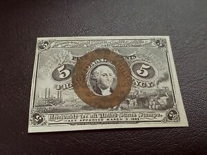 1863 Series 5 Cent Fractional Currency Note CU