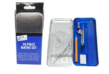 10 Piece Complete Maths Set Stencil Compass Protractor Metal Tin Case School