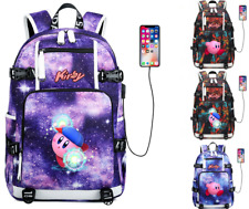 Game Kirby USB Charging Laptop Backpack Boys Girls Schoolbag Travel bag