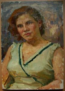 Russian Ukrainian Soviet Oil Painting female Portrait realism woman girl 1950s