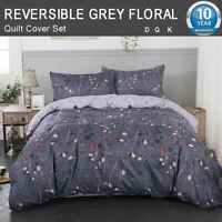 Reversible Grey Floral Quilt Doona Duvet Cover Queen/King Size Bed Bedding Set