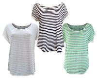 Ex M&S Linen Striped Boxy Loose Fit T Shirt Top Size 12 - 22