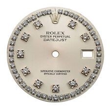 G Vvs Diamond Hour Markers 28 mm Rolex Datejust Silver Dial After Market 1 Ct