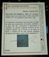 Modena 40 cent n.10g firmato Biondi e cert. Manzoni varietà con C al posto di 0