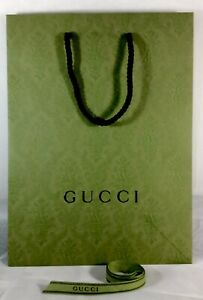 """GUCCI Green Limited Edition Shopping Gift Bag Tote NEW 10.25"""" X 13.75"""" W/ Ribbon"""