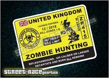 ZMB06 permiso de caza Zombie Reino Unido Pegatina Single Vinilo Calcomanía Gráfico Impreso