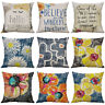 Exquisite Cotton Linen Printing Watercolor flowers Pillows case Home Decor Cover
