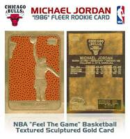 MICHAEL JORDAN 1996 Fleer '86 ROOKIE Feel The Game Gold Card Basketball Textured