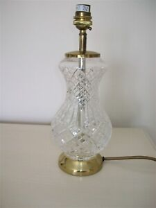 Cut Glass /Crystal Table Lamp - Brass top & Base - On/Off Switch on Lead