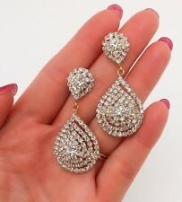 Clear Crystal Earrings Long drop dangle Wedding Bridal Pageant Prom Jewelry gems