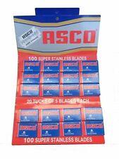 100 Asco Stainless double edge razor blades