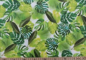 Kunstleder / Lederimitat bedruckt, Quality Textiles, Blätter, Weiß / Grün, Rest