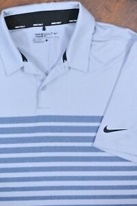 Nike Golf Dri-Fit Performance Polo Shirt Gray Stripe Men's Large L