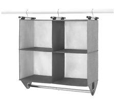 Whitmor 4 Section Fabric Closet Organizer Shelving with Chrome Garment Rod