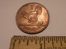 1963 IRISH 1 PENNY COIN EIRE HEN WITH CHICKS