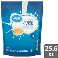 Great Value Instant Nonfat Dry Powder Milk, 25.6 oz (726g) Drink/Cooking