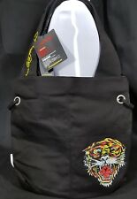 Ed Hardy By Christian Audigier NIA Tiger 100% Cotton Tote Shoulder Bag Black-NEW