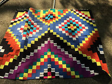 "Vintage Hand Made Patchwork Quilt Bed Spread  82""  x 67"" African Mali?1983"