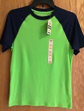 Nwt Boy's Urban Pipeline Green Navy Blue T-Shirt Baseball Top Short Sleeve Sz L