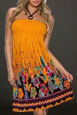 Sexy Miss Femme Licou Robe D'Été Fleurs Robe 34/36/38 Imprimé Orange Multicolore