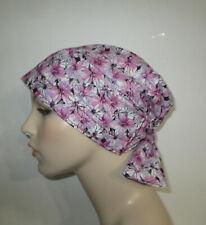 Chemo Hat Scrub  Cap Pink Daisies Hair Loss, Pediatric Scrub Cap