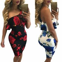 Sexy Women One Shoulder Bandage Bodycon Evening Party Cocktail Short Mini Dress